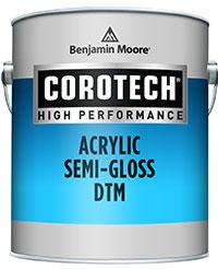 a can of Benjamin Moore Corotech Acrylic DTM Enamel