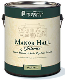 a can of PPG Pittsburgh Paints Manor Hall Interior paint