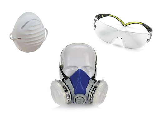 assortment of painters' safety equipment
